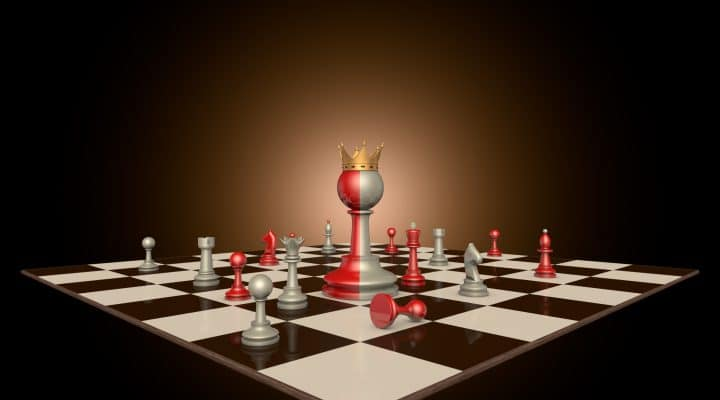 Chess pieces on a dark background art. In the center of a huge two-tone frame a pawn with a crown.